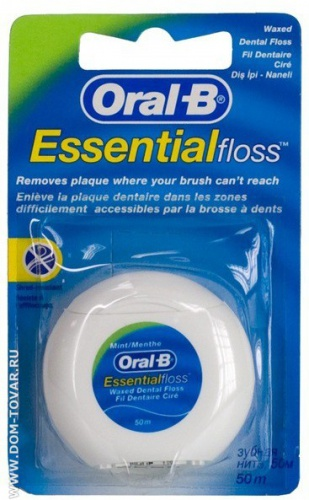Зубная нить Oral-B «Essential floss» с мятой, 50м.