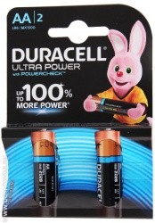 Батарейка Duracell ultra power AA LR6 1,5V, 2 шт.