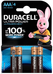 Батарейка Duracell ultra power AAA LR3 1,5V, 4 шт.